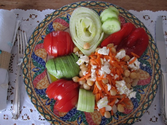 Chickpea Salad with shredded carrots and feta cheese