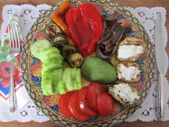 Roasted and fresh vegetables with goat cheese platter